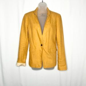 J Crew linen mustard yellow regent blazer, 10 Tall